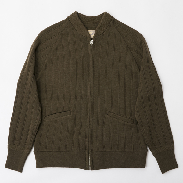 BF-14-034・RAGTIME DROP NEEDLE KNIT ZIP UP JACKET・ARMY GREEN 1